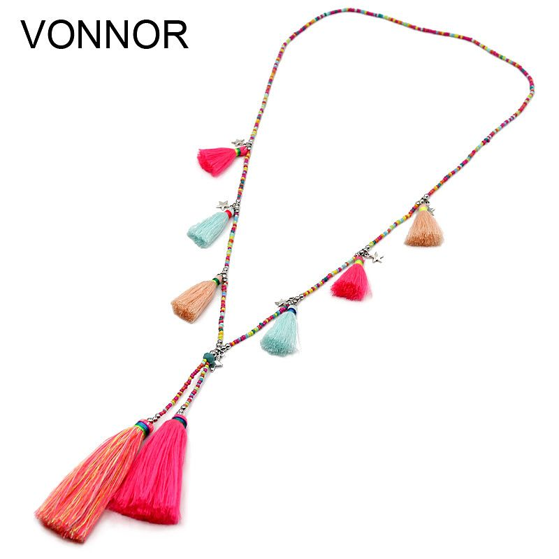 VONNOR Jewelry Women Statement Necklace Bohemian Handmade Colorful Strand Tassel Pendant Female Accessories Necklace for Dress