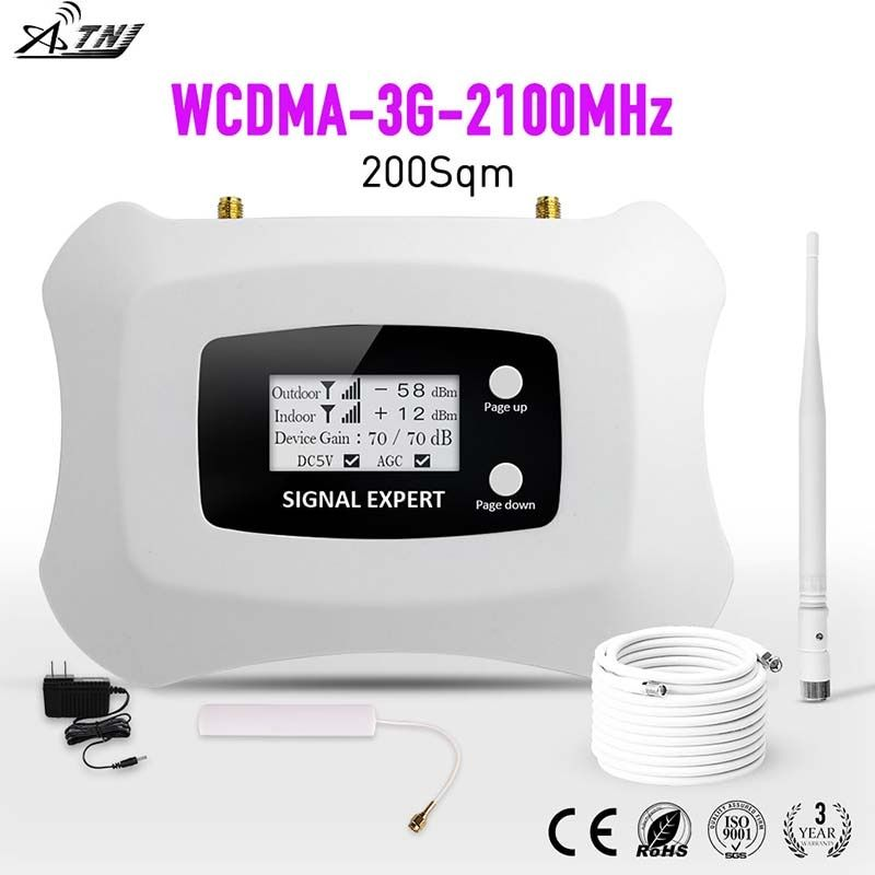 LCD display !Mini Smart 2100 MHz 3G mobile signal booster amplifier 3G repeater WCDMA cellular signal booster amplifier for 3G