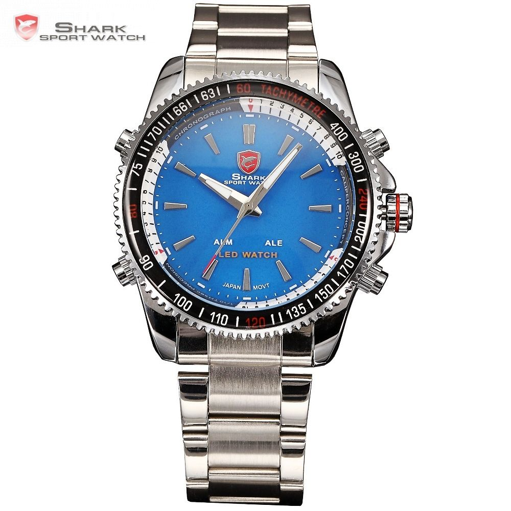 Mako SHARK Sport Watch Luxury Blue Men's Digital LED Date Alarm Military Electronics Steel Strap Wrist Watches Hot Clock /SH002