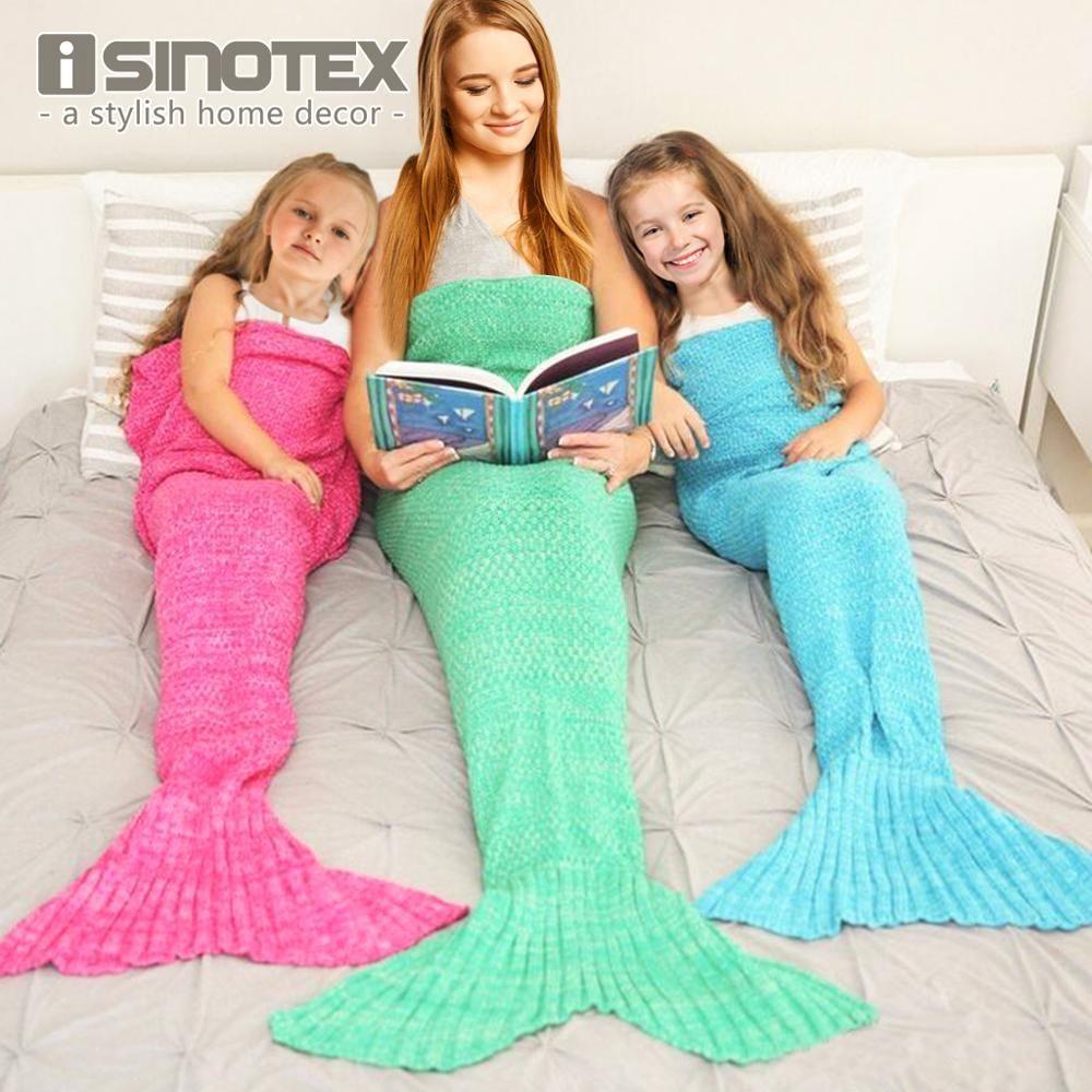 Sirène queue couverture fil tricoté à la main Crochet sirène couverture enfants jeter couvre lit Super doux couchage lit 3 tailles 1 PCS/Lot