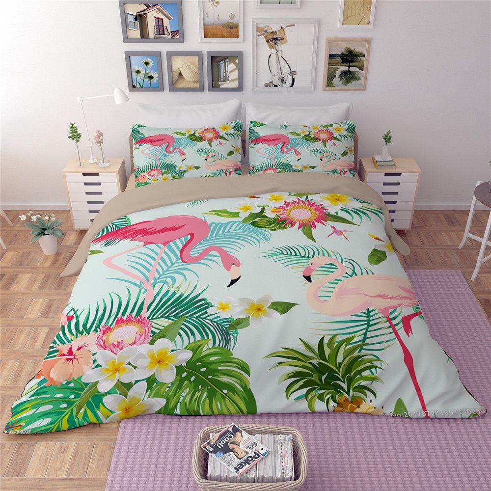 Rosa Flamingo grünen Bettbezug Set Tier blume blätter Gedruckt Vogel Bettwäsche Set King Nette Mädchen Bettdecke 3/4 stücke Bettdecke
