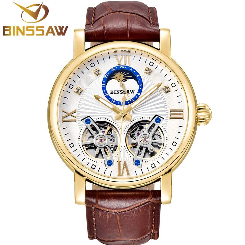 BINSSAW Men Automatic Mechanical Steel Double Tourbillon Luxury Leather Watch Fashion Business Sports Watches Relogio Masculino