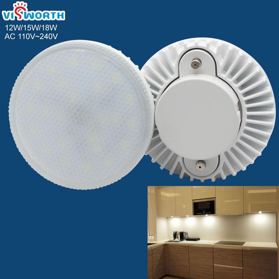 Gx53 lampe à led 12 w 15 w 18 w led ampoule ac 110 v 220 v 240 v smd2835 44 pièces 54 pièces leds armoire lampe chaude blanc froid armoire lampe