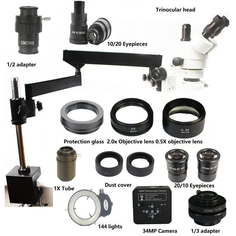 Simul-Brenn 3.5X 7X 45X 90X 180X Trinocular Stereo Gelenk Arm Clamp Mikroskop 34MP HDMI USB Löten Kamera Telefon werkzeuge