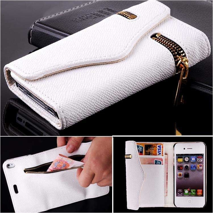 Tengocase Luxury Wallet PU Flip Leather Case Zipper Cases Cover ID Card Holder Cover for Apple iPhone 4 4s 5 5s SE 6 6s plus