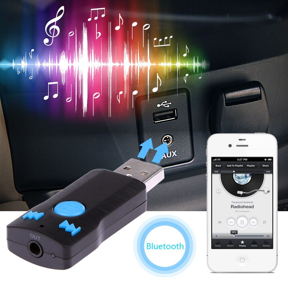 Bluetooth USB Receiver Music Receiver Adapter MP3 Player Bluetooth Car Handfree Calling 3.5MM Streaming Car A2DP AUX Audio