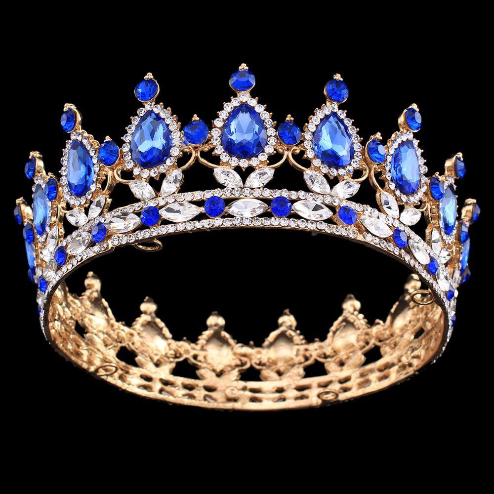 Pageant Full Circle Diadème Autrichien Clair Strass Roi/Reine Couronne De Mariage De Mariée Couronne Costume Party Art Déco