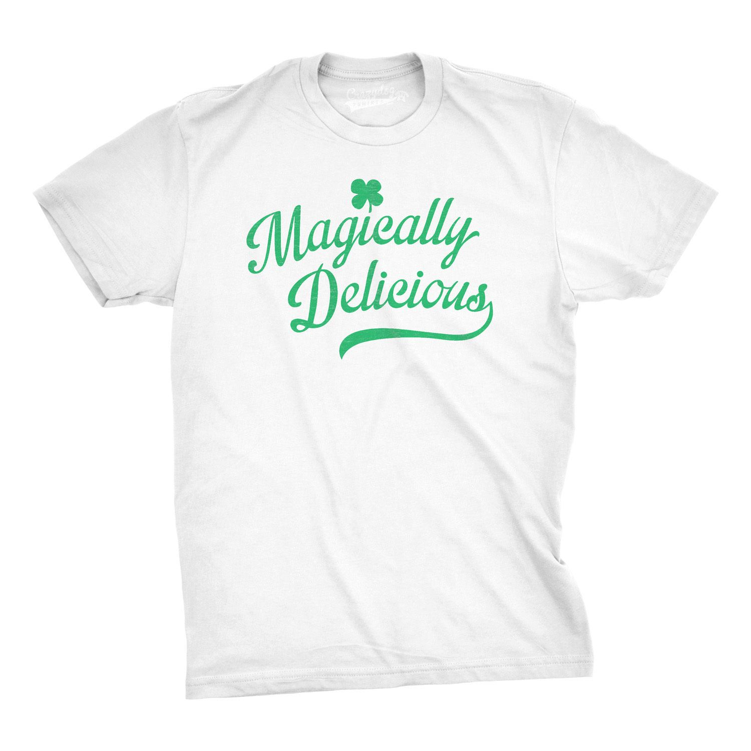 Mens Magically Delicious Funny St Patricks Day Irish T Shirt (White) Chinese Style Low Price Round Neck Men Tees T-shirt