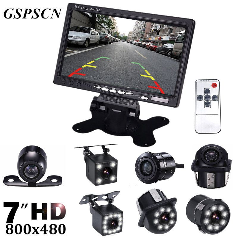GSPSCN HD 7 Inch LCD Color Display Screen Car Rear View DVD VCR Monitor With LED Lights Night Vision Reversing Backup Camera