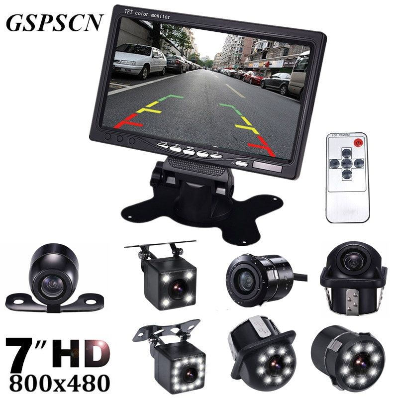 GSPSCN HD 7 Inch LCD Color Display Screen Car Rear View DVD VCR Monitor With LED Lights Night Vision Backup Reverse Camera