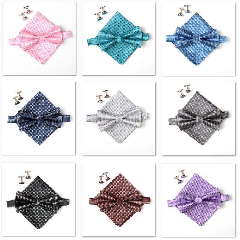 2018 poignée de mode arc cravate ensembles pour hommes Mouchoir boutons de manchette papillon Poche Carré