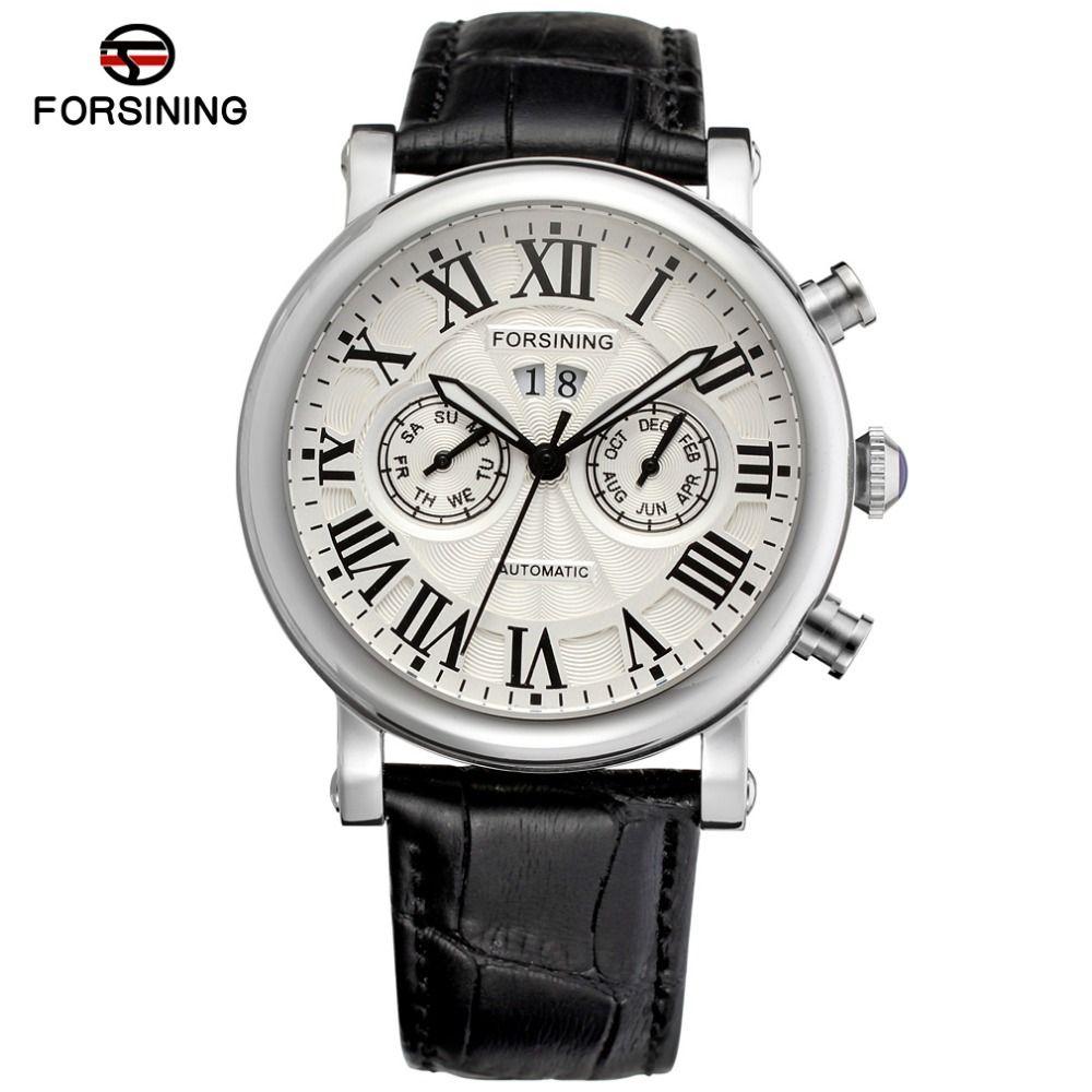 Fashion&Casual Men Automatic Watch Men Stainless Steel Case Genuine Leather for Businessman erkek kol saati FSG9407M3S1