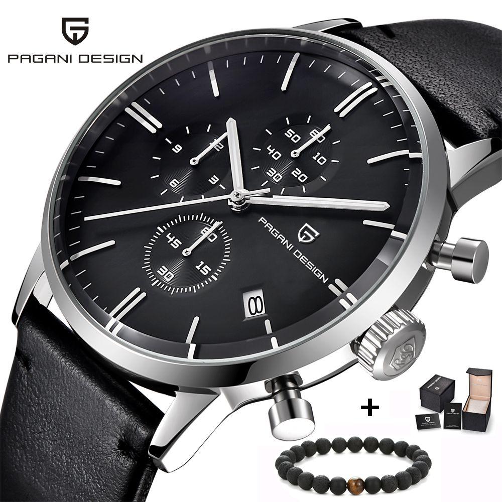 Top Brand Luxury PAGANI Design Chronograph Leather Men's Watches Quartz Fashion Sport Military Wristwatch Men relogio masculino
