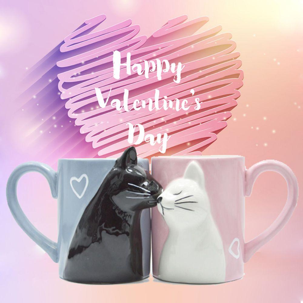 2 pièces céramique baiser chat tasse Couple tasses amant cadeau matin lait café thé petit déjeuner porcelaine tasse saint valentin pour fille femme