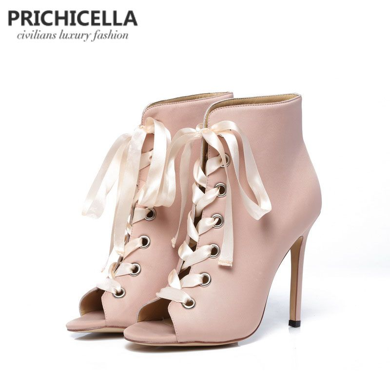 PRICHICELLA women's pink satin <font><b>ribbon</b></font> lace up ankle boots genuine leather open toe high heeled gladiator booties sandals
