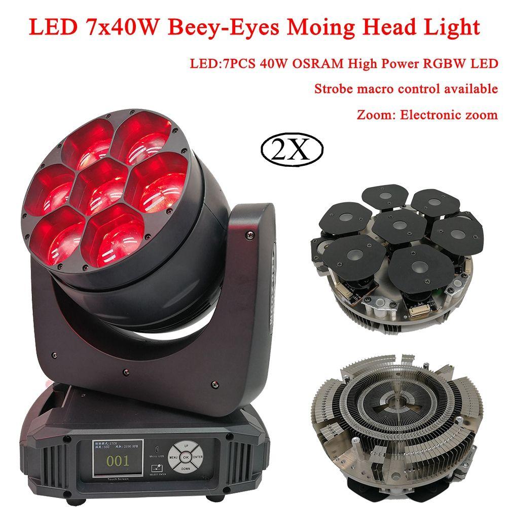 2 teile/los LED 7x40 watt Beey-Augen Moving Head Bühne Lichter RGBW 4IN1 LED Elektronische Zoom DJ licht LED & Strahl Waschen Moving Head Lichter