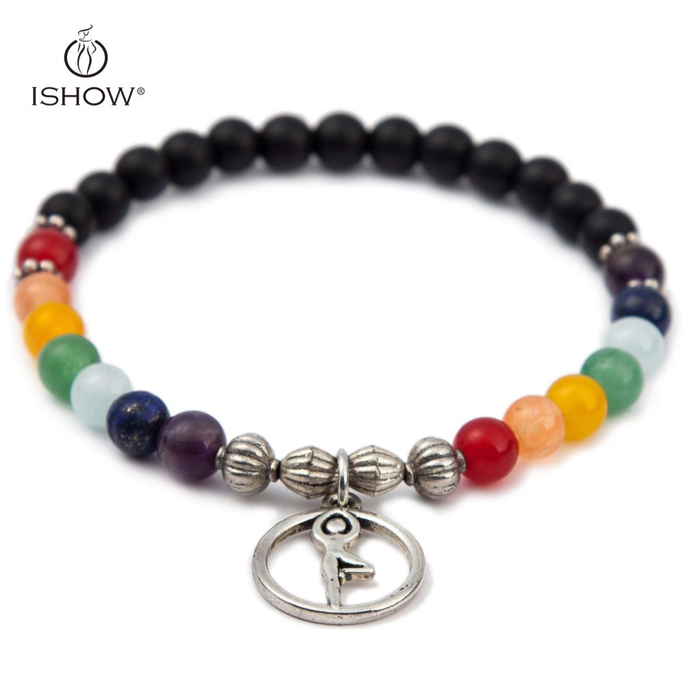 5 Colors 7 Chakra Nature Stone Yoga Bracelets Silver Plated Lotus Charms Chakra Yoga 6 MM Beaded Bracelet Woman Man Jewelry