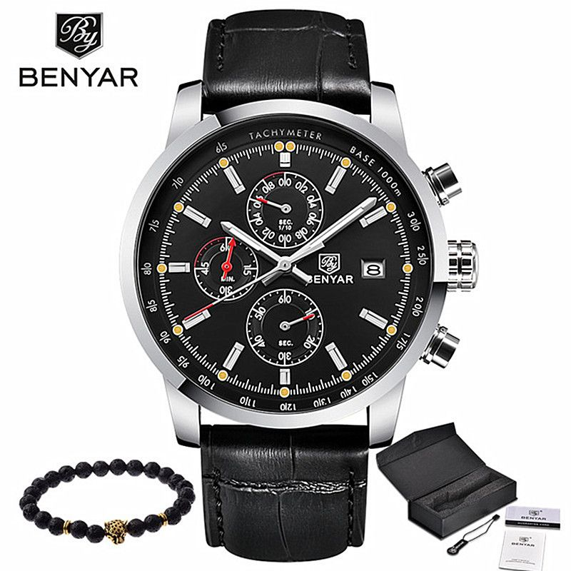 BENYAR Fashion Casual Mens Watches Luxury Brand Leather Business Quartz Watch Men Waterproof Wristwatch Relogio Masculino