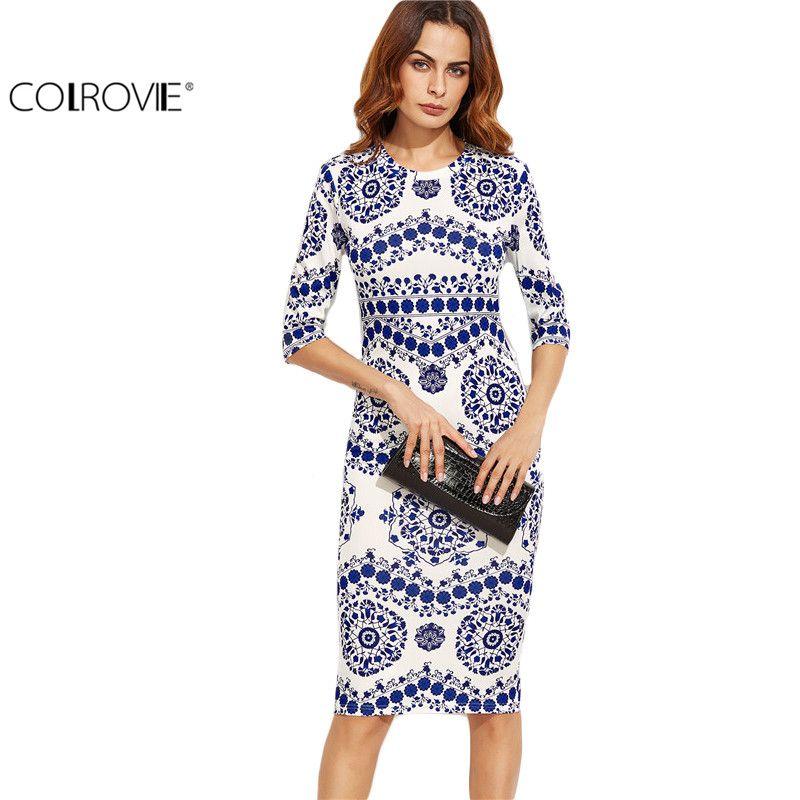 COLROVIE <font><b>Blue</b></font> And White Porcelain Print Slim Pencil Dress Office Ladies Work Wear Round Neck 3/4 Sleeve Midi Dress