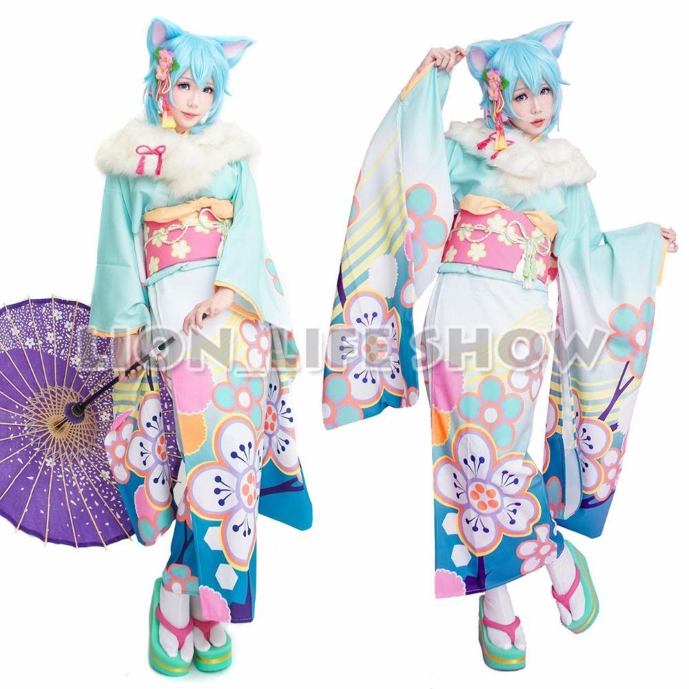 Flor Kimono SAO ALO Yuuki Asuna Leafa Asada Shino rosa azul verde púrpura Japonés Furisode Kimono Cosplay
