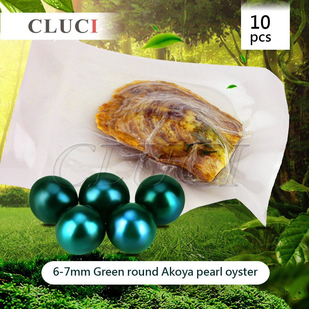 CLUCI 10pcs 6-7mm Akoya Green colorful Pearls in Oysters with vacuum-packing, Bright Colorful Round Beads for Jewelry Making