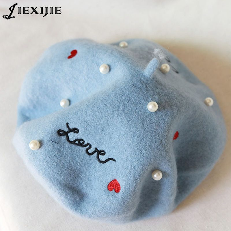 Japanese soft sister embroidery letters pearl wool beret painter cap baked wheat cake cap warm buds hat girl autumn and winter68