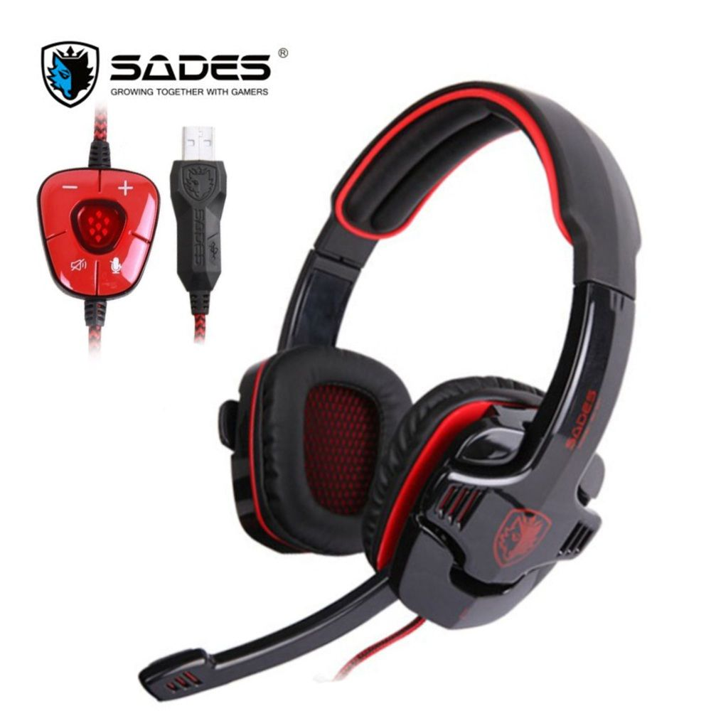 SADES SA901 Game Headphones Virtual 7.1 Stereo Surround USB Gaming Headset Earphone with Microphone Noise Canceling for PC Gamer
