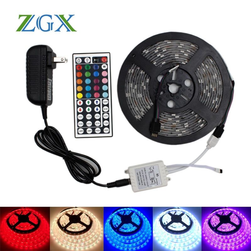 RGB LED Bande lumière 5050 2835 3528 Flexible ip 20 Étanche néon tira lampe fita ruban bande IR contrôleur DC 12 V adaptateur ensemble