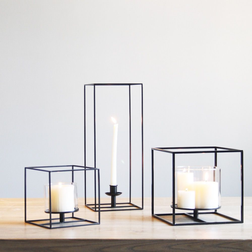 Square Black Cuboid Metal Tealight Candle Holders Tabletop Decorative Candlestick Holder Home Wedding Accessories Decoration