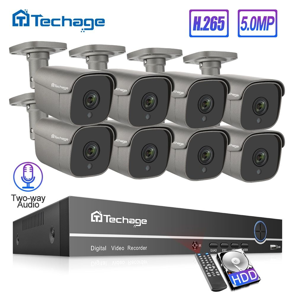 H.265 8CH 5MP POE NVR Kit Sicherheit CCTV System Menschlichen Körper Erkennen Zwei-weg Audio AI IP Kamera Im Freien p2P Video Überwachung Set
