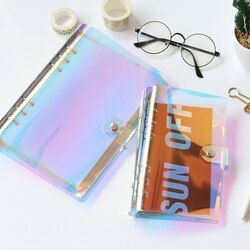 JIANWU 2018 NOUVEAU A5 A6 PVC Creative laser liant lâche notebook journal feuilles mobiles note livre planificateur bureau fournitures
