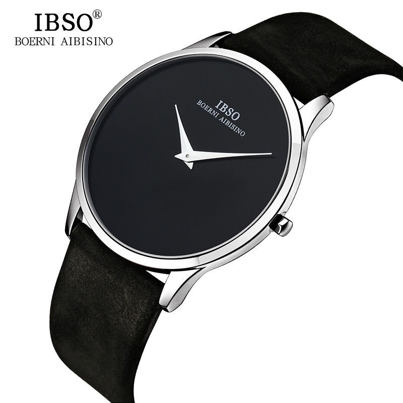 IBSO 7MM Ultra-thin Mens Watches Top Brand Luxury Genuine Leather Black Quartz Watch Men 2018 Simple Style Relogio Masculino