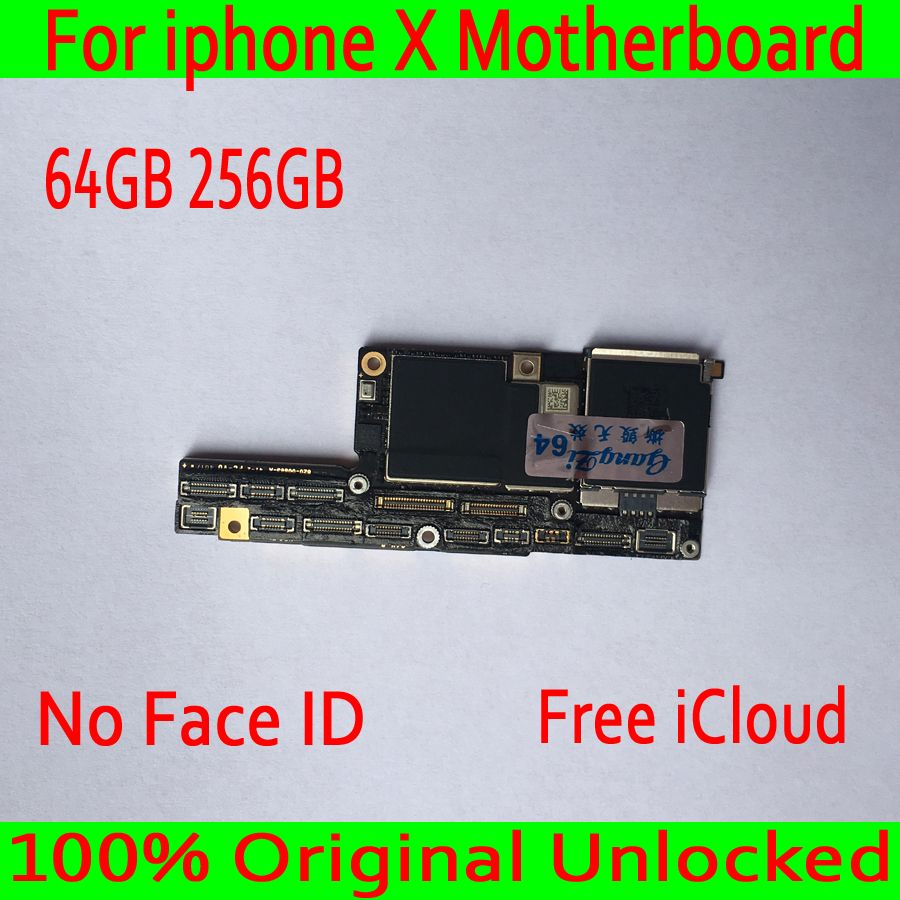 Free iCloud 100% Original unlocked for iphone x Motherboard No Face ID for iphone X Logic boards 64GB 256GB Mainboard with Chips