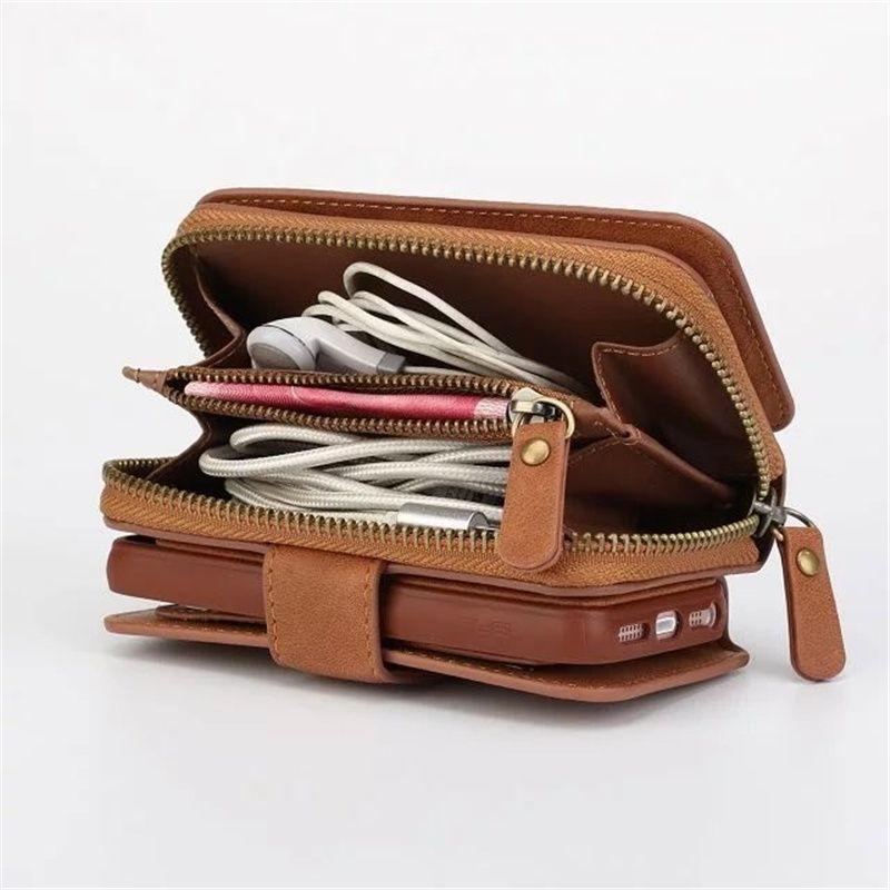 Portefeuille multifonction en cuir étui pour samsung S4/S5/S6/S7/S8/EDGE/NOTE4/NOTE5 Zipper sac à main pochette coques de téléphone Lady sac à main couverture