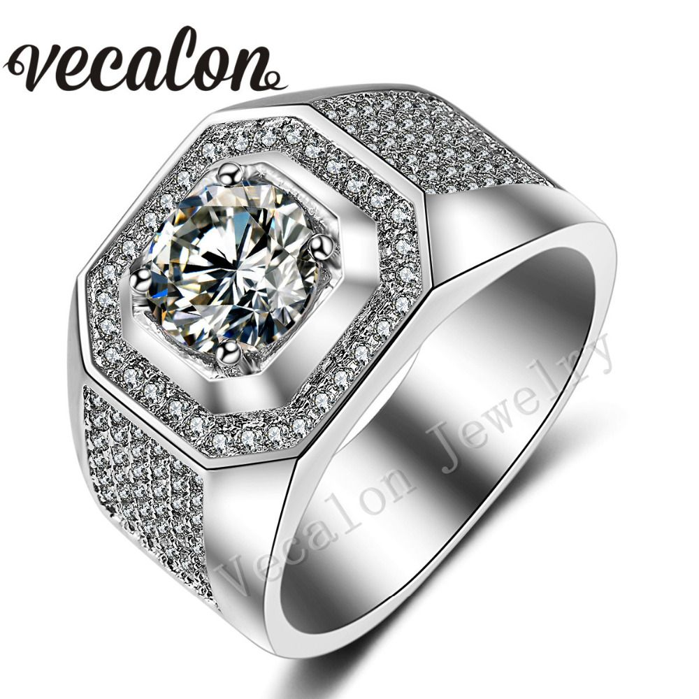 Vecalon Men Engagement Band ring Solitaire 3ct AAA Cz AAAAA Zircon stone 10KT White Gold Filled Wedding Ring for Men Sz 7-13