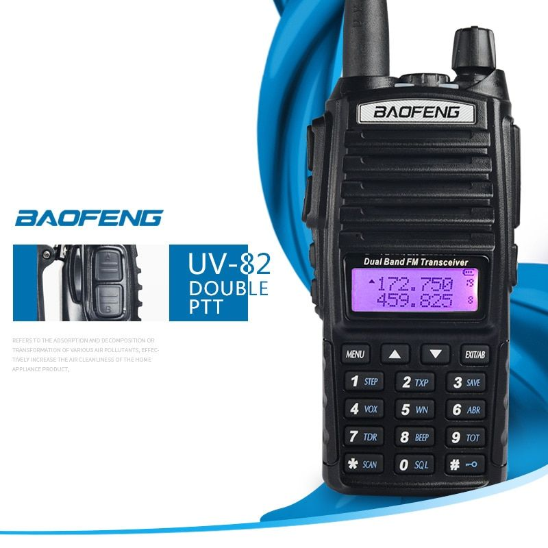 Baofeng UV-82 UV82 UV 82 Portable Walkie Talkie Two Way CB Ham VHF UHF Radio Station Transceiver Boafeng Woki Toki Communicator