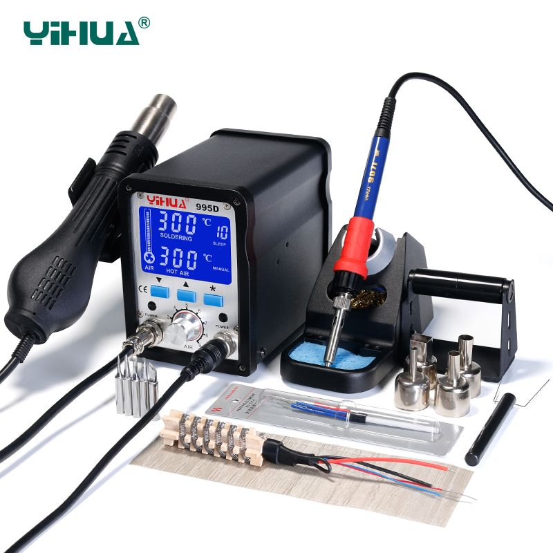 Upgrade Vision YIHUA 995D Hot Air Soldering Station LCD Screen SMD BGA Rework Station 60W Large Soldering Iron Soldering