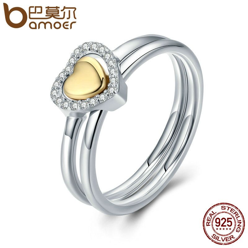 BAMOER 100% 925 Sterling Silver Heart Of Gold Puzzle Ring Stack Female Finger Ring for Women Wedding Engagement Jewelry PA7652