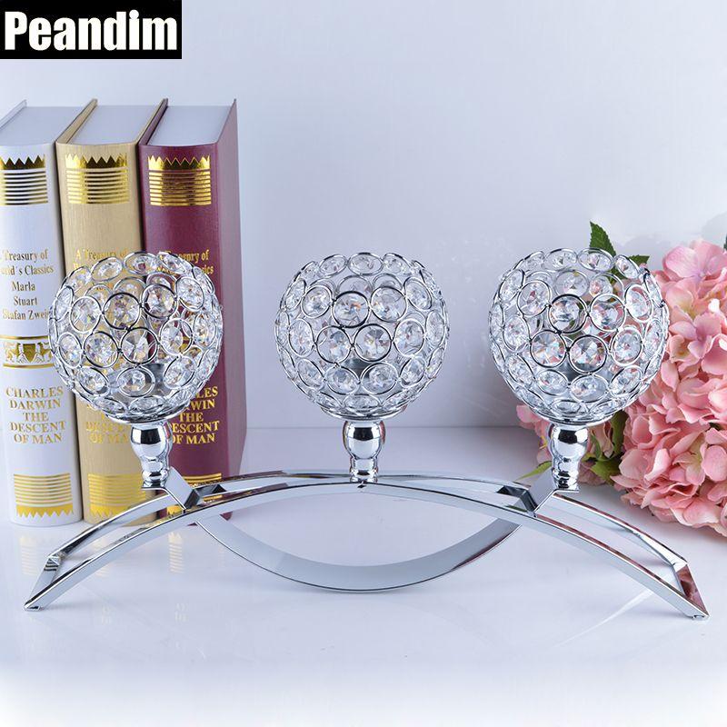 PEANDIM Religiöse Aktivitäten Dekorationen 3-Candles Mittelstücke Kristalle Votiv Kerzenhalter