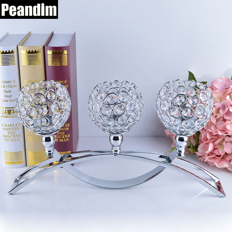 PEANDIM Religious Activities Decorations 3-Candles Centerpieces Crystals Votive Candle Holders