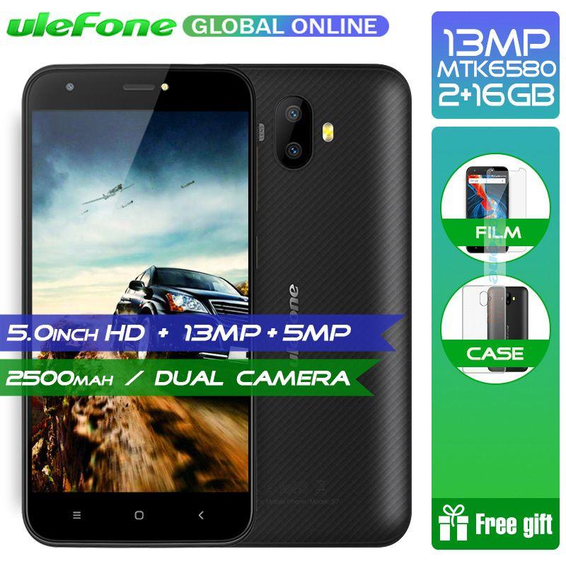 Original Ulefone S7 Pro 2GB RAM 16GB ROM 3G WCDMA MTK6580 Quad Core 5.0 HD 13MP Dual Rear Cam GPS Android 7.0 Mobile Phone