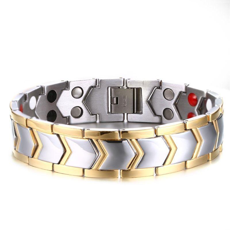 Bracelet de puissance magnétique exceptionnel de Bracelets de santé d'acier inoxydable de Double rangée de deux tons pour des bijoux d'hommes 8 pouces