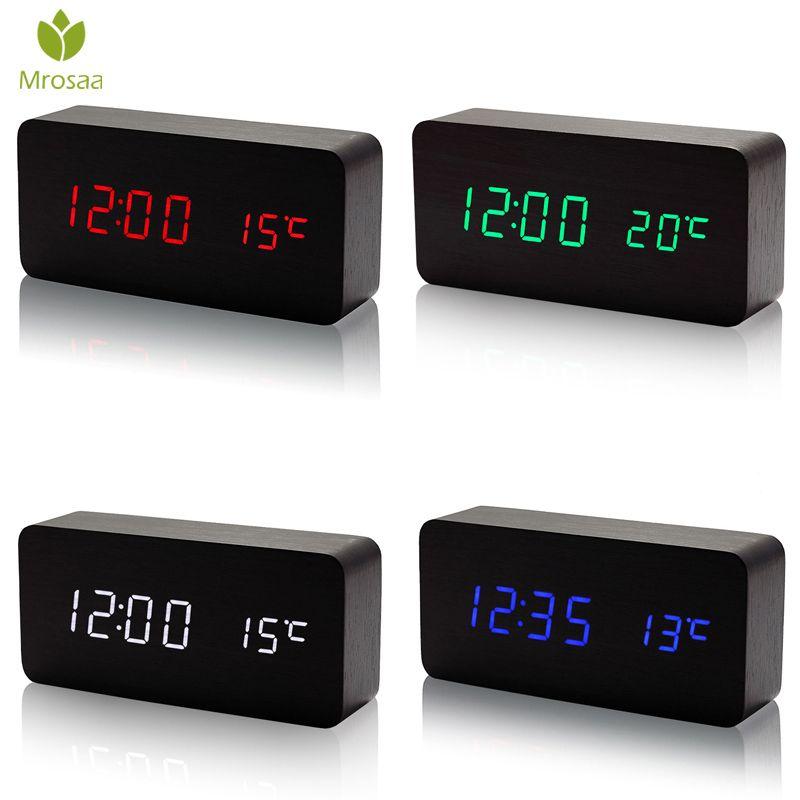 Mrosaa En Bois LED Réveils Température Électronique Horloge Sons Contrôle Numérique LED Affichage De Bureau horloge De Table Calendrier