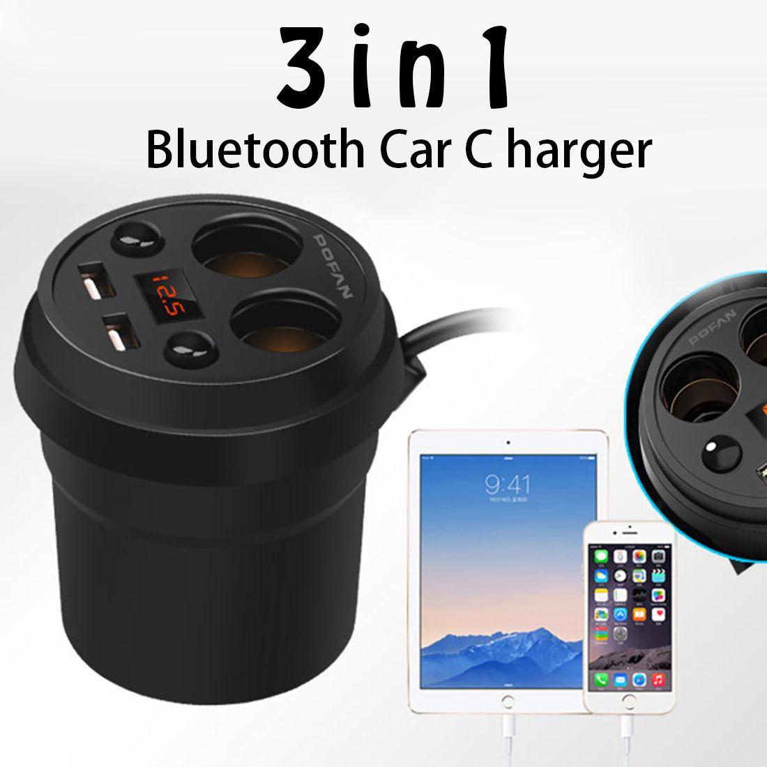 Etmakit Cup Car Charger Multi-function Display Voltage 3.1A 2 USB Carcharger DC12-24V Cigarette Lighter Splitter For Mobile GPS
