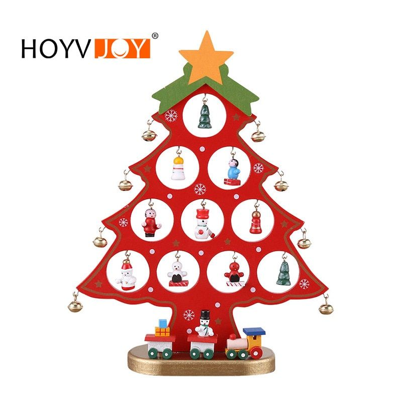 HOYVJOY DIY Wooden Christmas tree Desk Decoration Placed On The Desktop Home Christmas Party Decoration 27*20cm