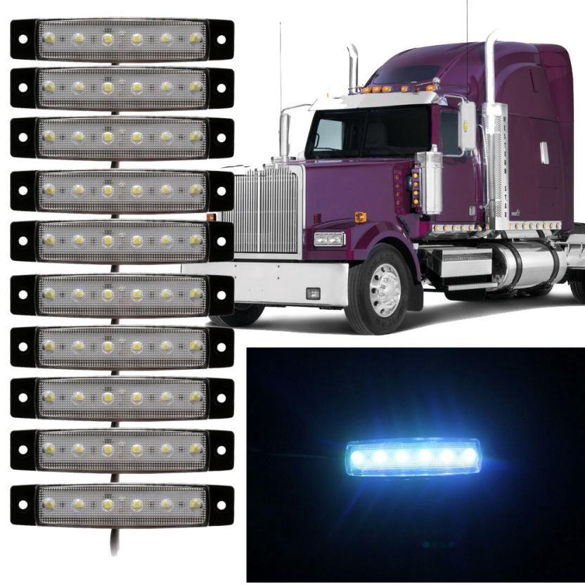 Nueva llegada 10 unids 6 LED camiones bus liquidación side Marker indicadores luz lámpara ámbar blanco luz del carro