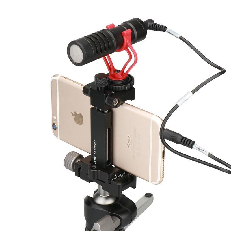 Ulanzi ST-03 Universal Metal Phone Handhold Microphone Stand Smart Clip for Phone Tripod Mount Adapter Microphone Accessaries