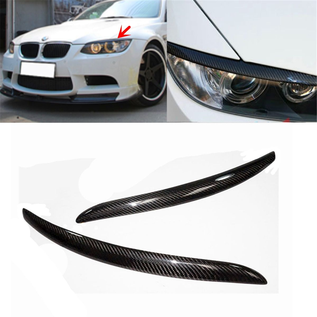 A Pair Headlight Lid Eyebrow EyeLids For BMW E92 E93 335I 335CI Model 2007-2012 Real Carbon Fiber Eyelids Trim Cover