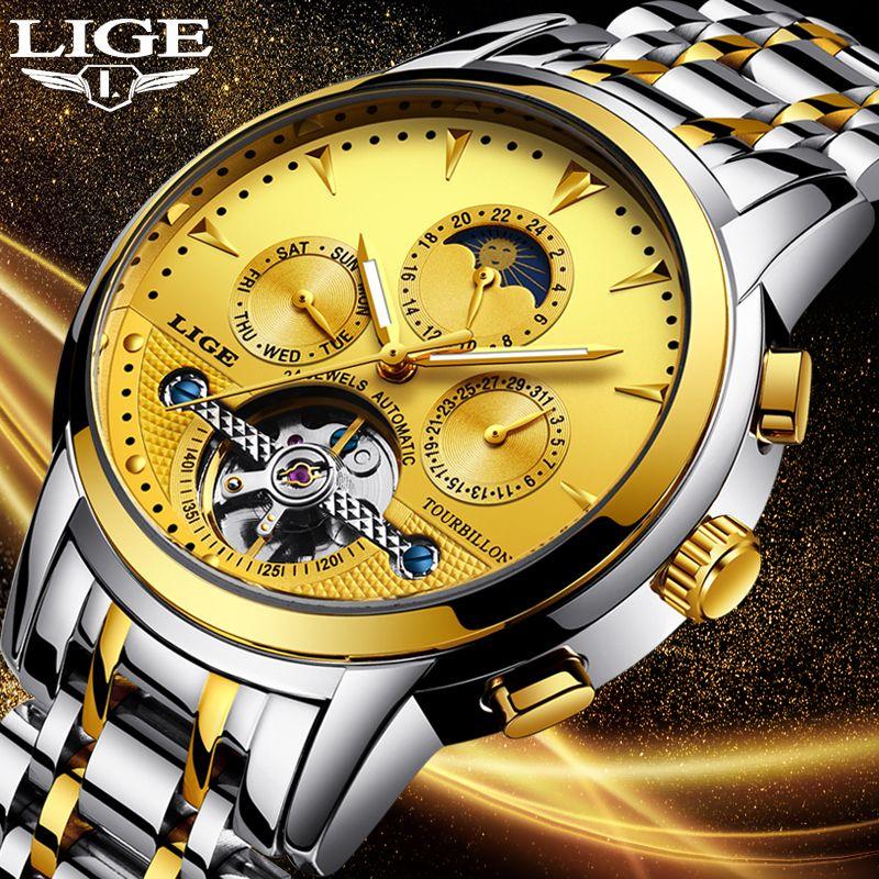 Neue LIGE Herren Uhren Top Luxus Marken Gold Mechanische Uhr Herren Sport Wasserdicht Voller Stahl Business Watch Relogio Masculino