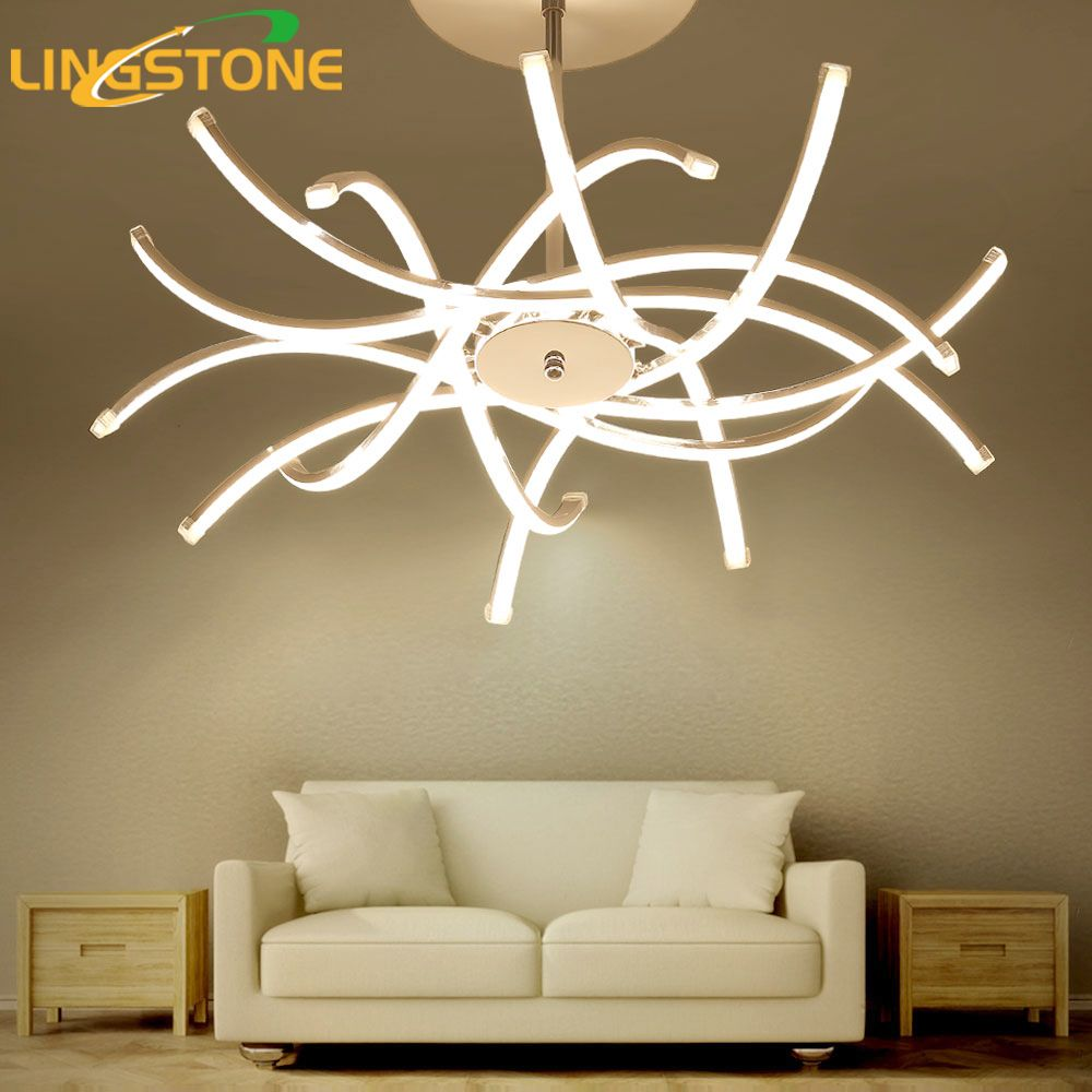 Led Chandelier Lighting Lustre Hanglamp Fixture Chrome Ceiling Plate Chandelier Lamp Living Room Bedroom Dining Room Restaurant